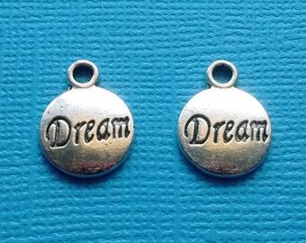 10 Dream Word Circle Charms Silver - CS2424
