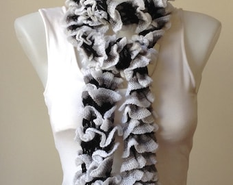 Knitted scarf , ruffle scarf, women's accessory , white&black knitted scarf, women's clothing,winter accessory, Gift for her, Gift idea