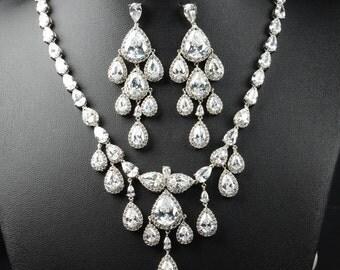 Chandelier earrings necklace bracelet  set Jewelry Weddings Bridesmaid Earrings Bridesmaid Gift Bridal Earrings Jewelry Wedding Jewelry