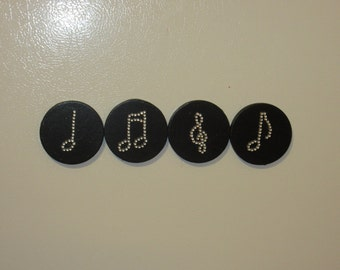 Set of 4 Rhinestone Musical Notes Magnets, Rhinestone Magnets, Musical Note Magnets, Music Magnets,