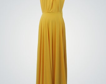 Long bridesmaid dress Convertible Yellow Dress Convertible maxi dress Convertible bridesmaid dress Convertible wrap Gold  bridesmaid dresses