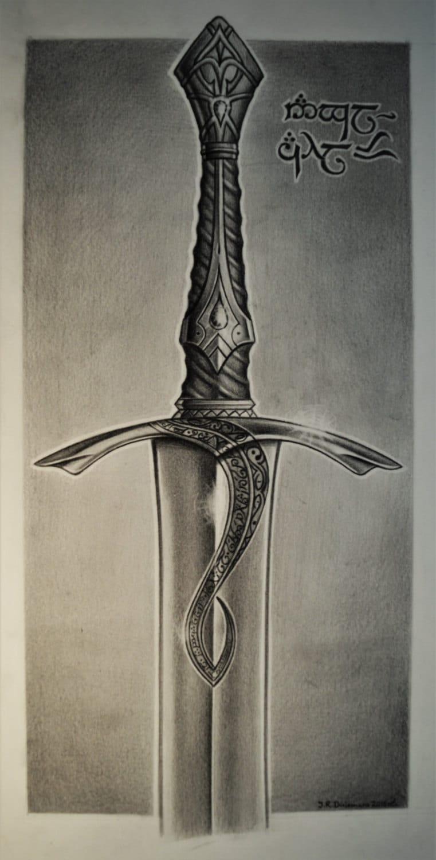 Pencil drawing of Elven sword 'Anglachel' ORIGINAL