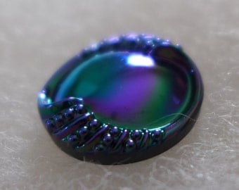 Czech glass button - blue, violet, green - 23 mm