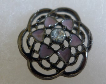Metal button - lilac, pewter - 25 mm