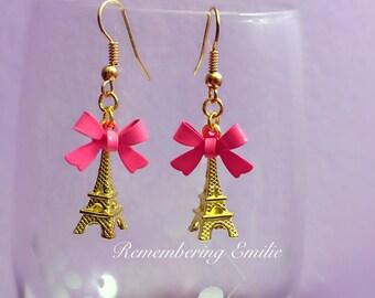 Eiffel tower bow earrings Gold Pink / green Love Romantic Jewelry Paris