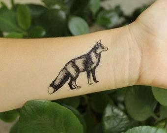 Fox Temporary Tattoo, Black Ink, Forest Animal Tattoo, Nature Tattoo