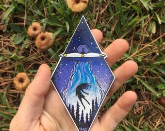 UFO Abduction Temporary Tattoo, Alien Tattoo, Purple Diamond, Symetrical, Unidentified Flying Object Tattoo, Extraterrestrial Tattoo