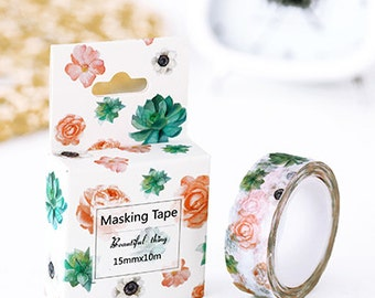Green/Pink Floral - Washi Tape, Masking Tape, Planner Stickers