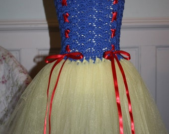 Handmade Crochet Top Snow White Inspired Tutu Dress