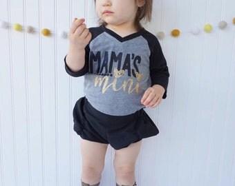 Mama's Mini Shirt - Mom Life - Girls Shirt - Mother's Day - Trendy Kids - Mommy's Mini - Raglan Tee - Mom Life - Glitter Shirt
