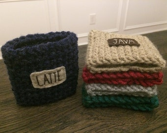 Hand Crochet Coffee Cozy With Tag