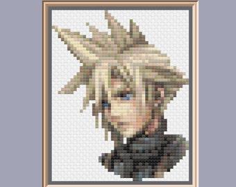 Cloud Strife Final Fantasy VII Dissidia Portrait Cross Stitch Pattern PDF instant download