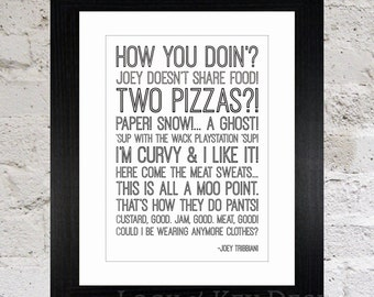 Framed Friends Quotes Print / Friends TV Show / Joey Tribbiani Quotes / Ross Geller Quotes / Phoebe Buffay Quotes / Chandler Bing Quotes