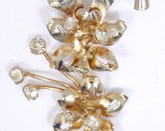 Antique Flower Brooch gold wash over sterling, marked, hinged rhinestones