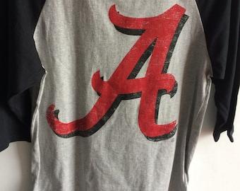 Alabama Crimson Tide - Script A - Baseball Ragland 3/4 Sleeve