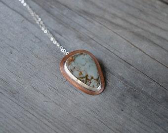 Mixed Metal Jasper Pendant, Silver and Copper