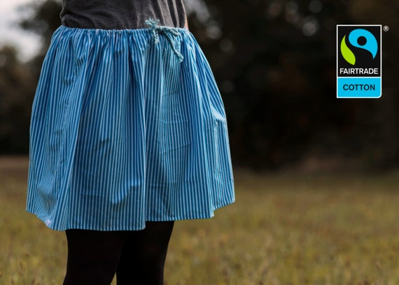 Fairtrade skirt blue and white stripes, fair vegan organic