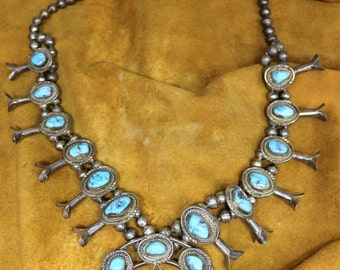 Vintage Native American Turquoise Squash Blossom Necklace