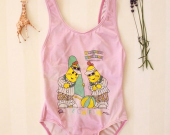 Kid's swimsuit 6-10 years, Vintage Bananas in Pyjamas Bathing Suit in Pink, Tween Girl's Retro Swimsuit in Pastel Colors