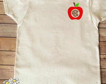 First Day of School Outfit - Apple Monogram Shirt - First Day of School Monogram- Back to School Monogram - Custom School Shirt