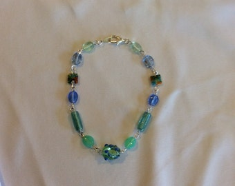 Blue and Green Glass Bead Necklace for 18 inch dolls