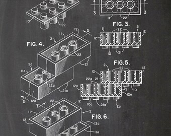 LEGO patent, stones, stones, vintage, drawing, printing, print, A4, chalkboard, black, white, drawing, figure, posters, wall art, building blocks
