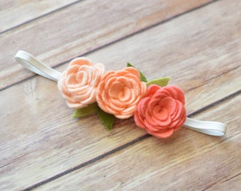 Peach Felt Flower Headband - Peach Felt Rose Headband - Peach Ombre Flower Headband - Photo Prop