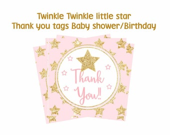 Pink and gold Twinkle Twinkle Little Star Thank you tags, Twinkle little star baby shower tags, Birthday tags, Digital file.