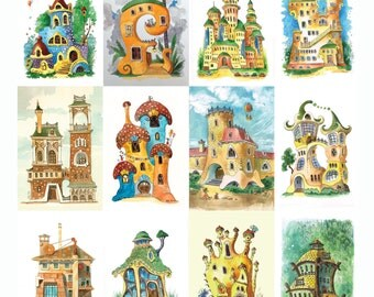 Postcards with fantasy houses