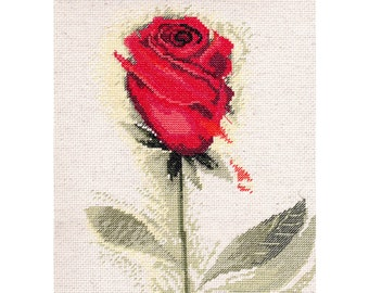 "Finished Cross Stitch Picture ""Red Rose""/Completed Cross Stitch/Hand Embroidery/Home Decor/ Wall decor READY TO SHIP"
