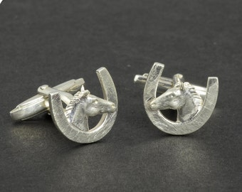Cuff links • horse head Horseshoe • silver • solid & 3D