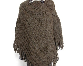 knitted PONCHO KNITTING PONCHO Cape wool Aran cable stitch