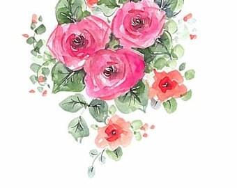 Original watercolor 5 x7 Greeting card Roses