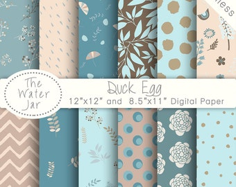 Digital Paper Pack SEAMLESS Duck Egg Blue hues, Website Backgrounds, Blog Backgrounds, Instant Download Commercial Use