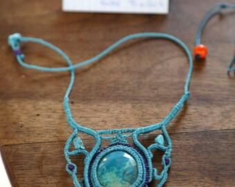 Necklace macrame Chrysocolla