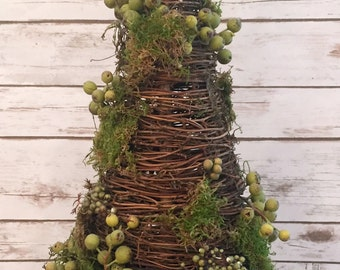 Cone Topiary with green berries and moss
