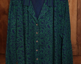 Liz Claiborne, Vintage 70s/80s Long-Sleeved Print Top in Blue and Green