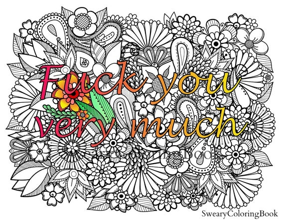 fuck you coloring page - fuck you very much swear words coloring by swearycoloringbook