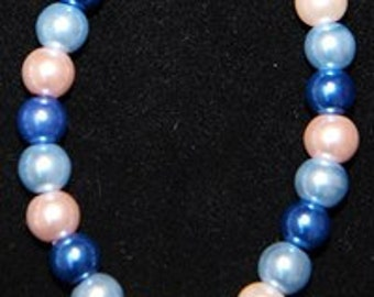 Handmade Blue and Pink Male Breast Cancer Hope Charm Awareness Medium 7.5 inch Stretchy Bracelet