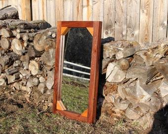 Handmade Rustic Reclaimed Wood Mirror, Natural Finish
