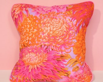 Cushion cover - pink & orange flowers