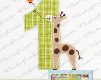 Birthday Giraffe with Numbers 1-6 Applique Design