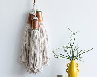 Giant Tassels // Copper Handwoven Weaving Fiber Textile Wall Art Home Decor Redhouseloves