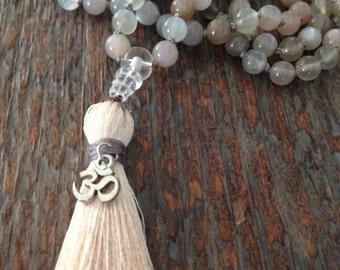 Moonstone Mala, Feminine Beauty, 108 beads, mala necklace, healing crystals, yoga jewelry, meditation, emotional balance, handmade jewelry