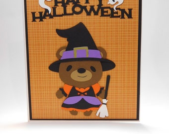 Halloween teddy bear witch card