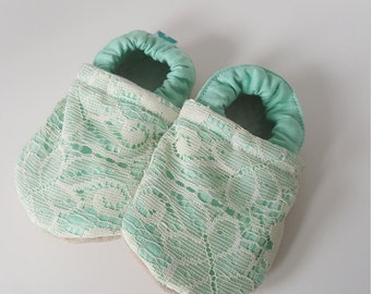 Mint, green, lace, Moccasins, baby crib shoes, soft sole