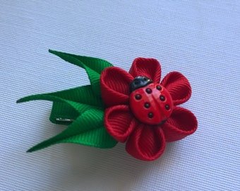 Hair Clip For Girls Ladybug Kanzashi