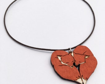 Cute Fox Heart Necklace Valentines Gift, Foxes Mate for Life Wood Pendant Choker