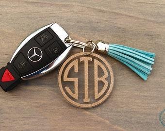Monogram Keychain with Tassel, Personalized Key Chain, Initial Keychain, Zipper Pull, Key Fob