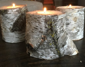 Natural Birch Candle Holders